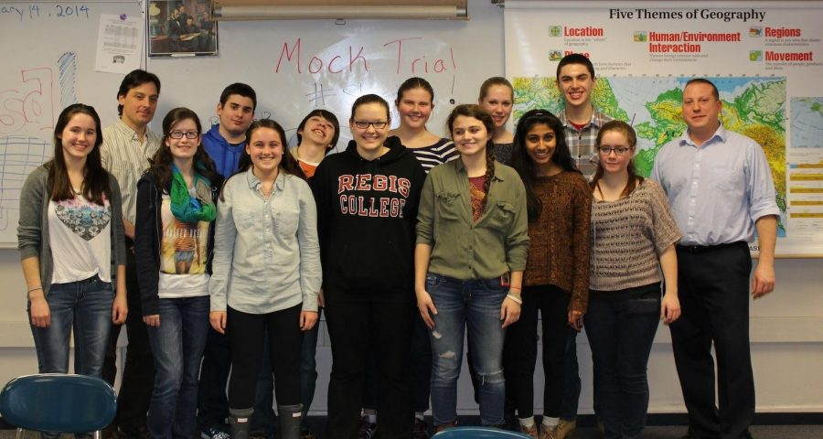 The Mock Trial clubs poses for a picture.