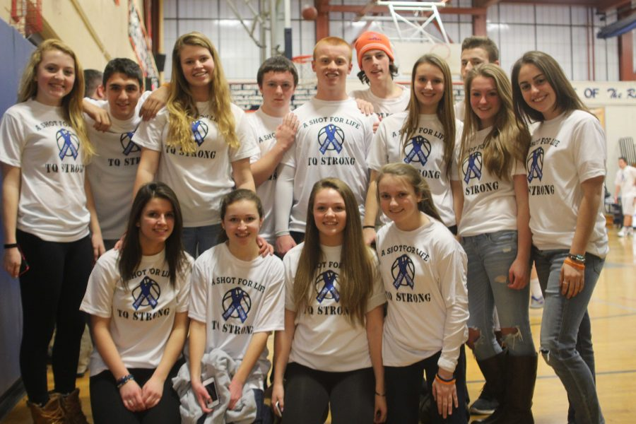 Students attend the boys basketball game in support of the Tommy Quinn Foundation.