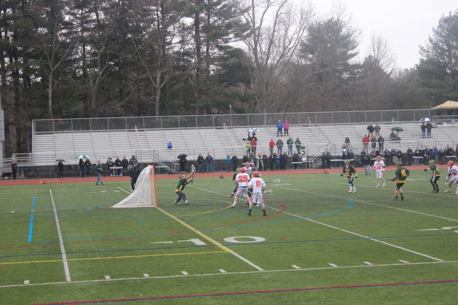 Walpole Boys lacross scores goal at first game of the season.