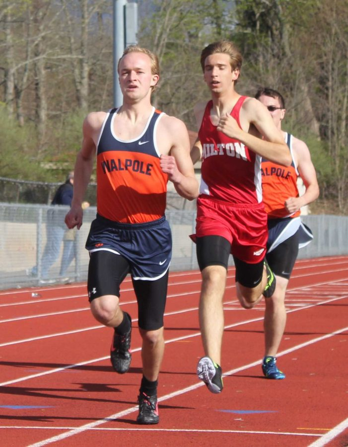 Walpole Mid-Distance runner leads against Milton in the 800 meter race.