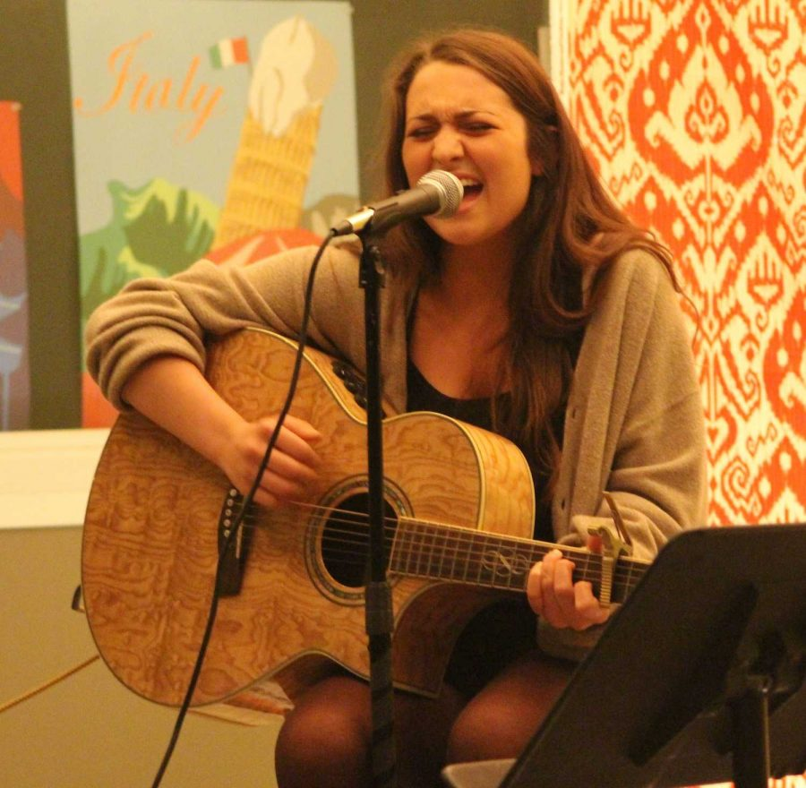 Maria Earabino performs at the last Acoustic Coffee House of the year.