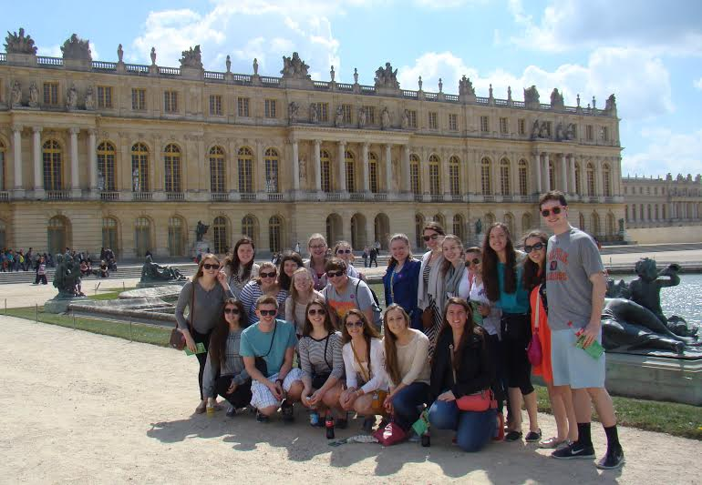 Walpole High Students Pose for a Photo Outside the Palace of Versailles.