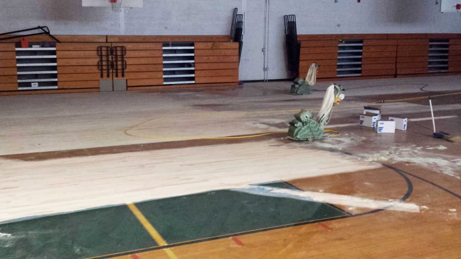 Head Custodian Dave Woods provided this picture of the gym renovation work this summer.