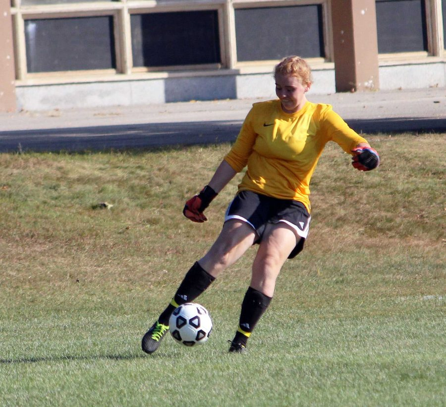 The Rebel Goalkeeper clears the ball against Milton on October 19.