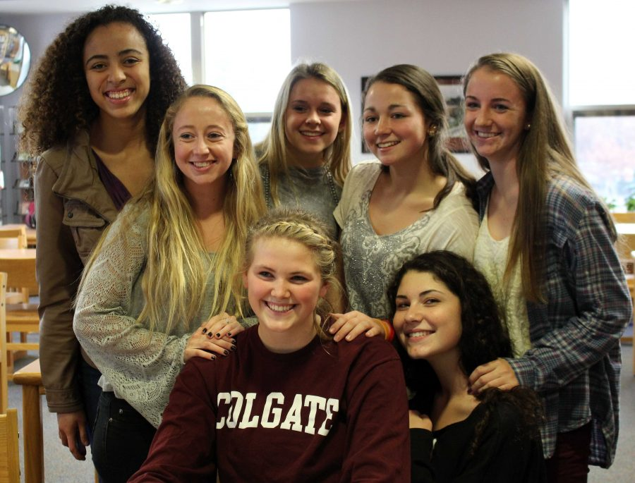A student signs her National Letter of Intent to play Women's Basketball at Colgate University.