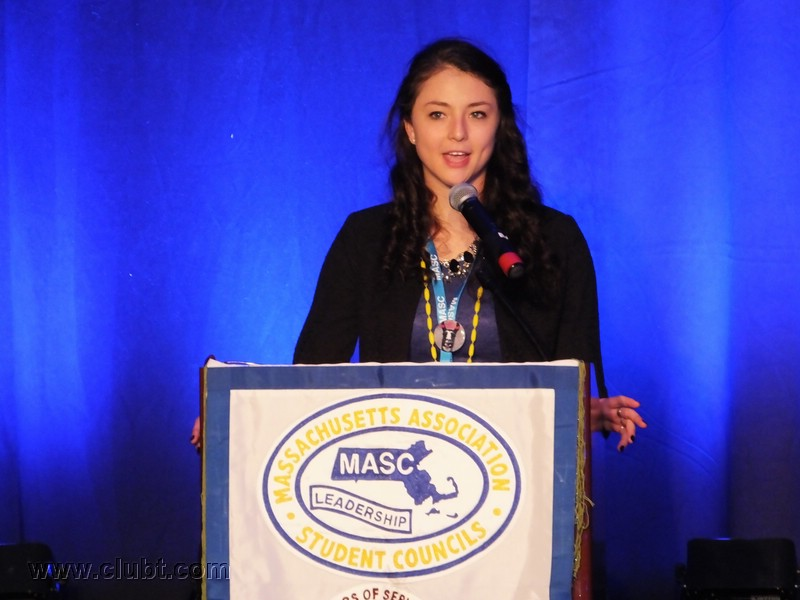 Junior Stina Cofsky delivers her speech on Thursday, March 12th at the 38th annual MASC State Conference.