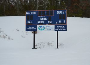 A week from the start of practices, Eldracker field still had over a foot of snow on the field on March 10.