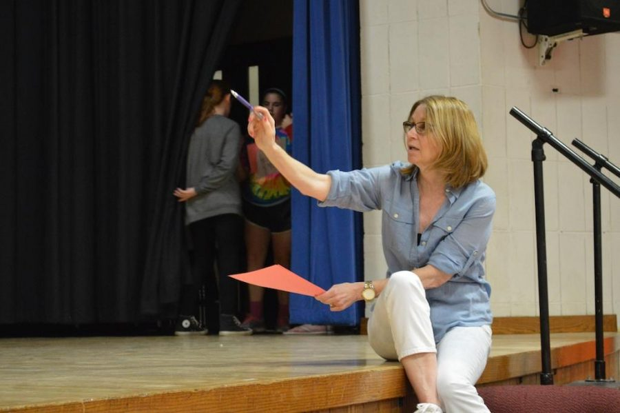 Mrs. Diana Dent directs a rehearsal for the
