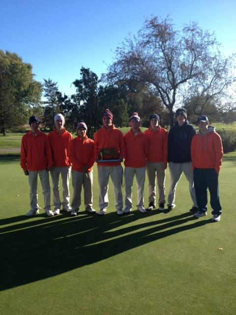 Posing with their Division 2 sectional runner-up trophy, Walpole Golf looks forward to the All-State competition next week (Photo/ The Conti Family).