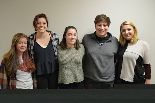 """The winning movie crew of """"The Turtle Shoot,"""" consisting of seniors Bridget Connell, Katie McGovern, Max Simons, Felicia Romeo and Matt Moriarty, as well as junior Meredith LoRusso, poses for a picture."""