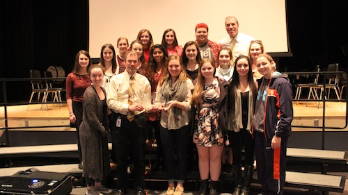 The Fire Within club poses with Principal Imbusch and their national award.