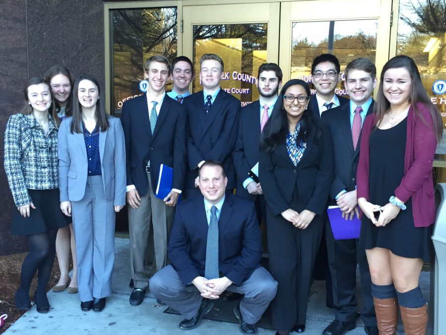 Mock Trial poses for a picture at the Canton court house after their first win against Foxboro on January 28. They later fell to Canton on February 11.