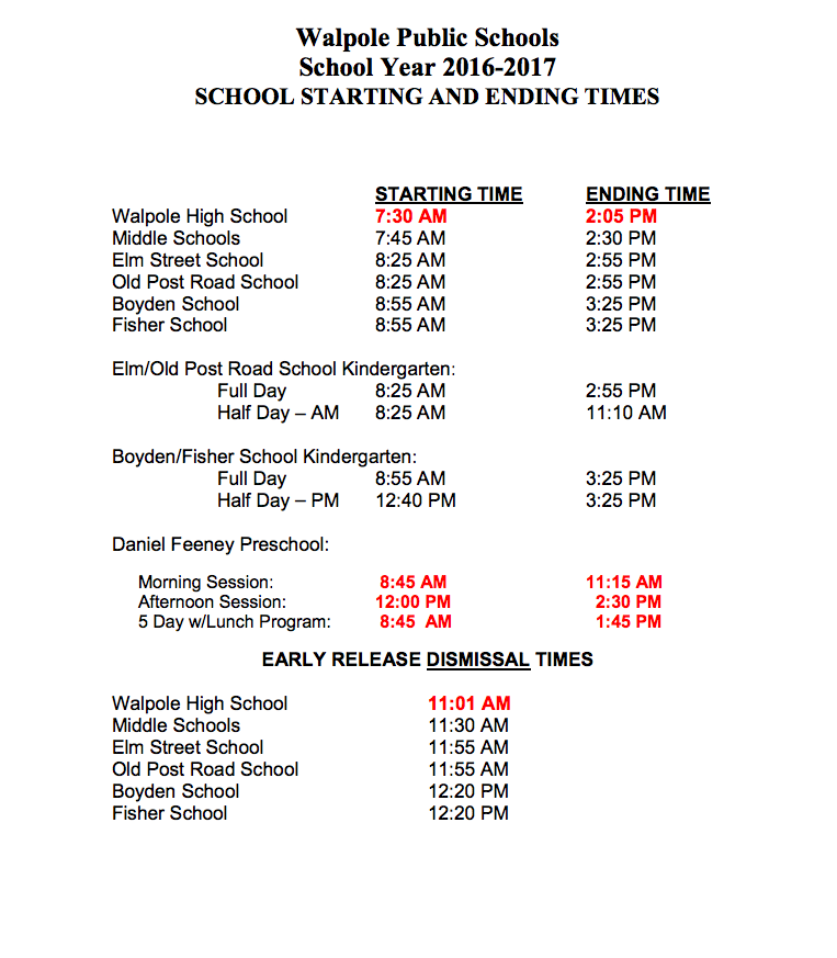 Imbusch Introduces Later Start Time for New School Year