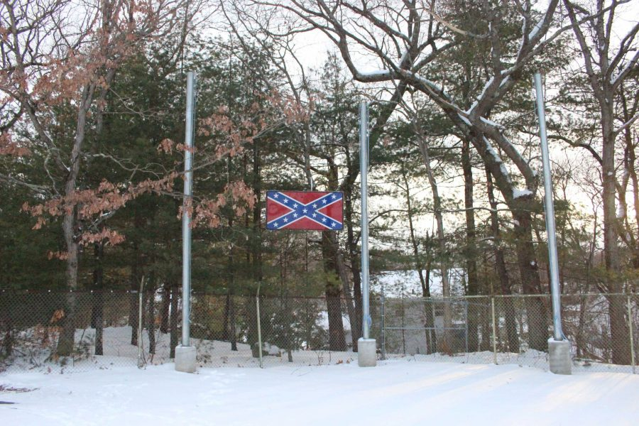 The confederate flag, although situated on private property, overlooks the athletic facilities.
