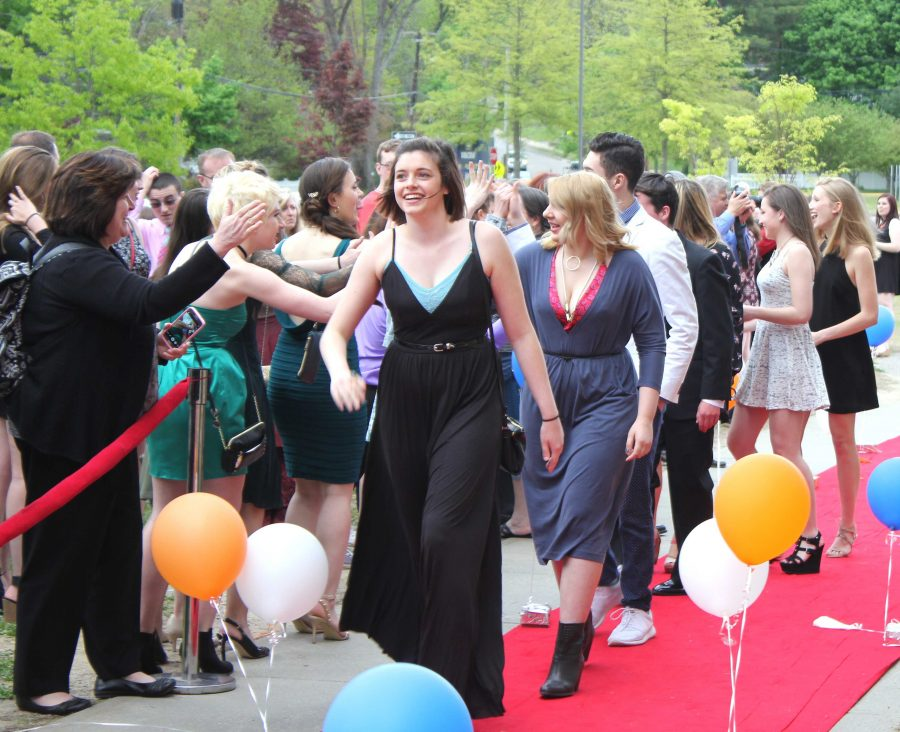 Senior Katie McGovern walks the red carpet before the awards ceremony (Photo/ Brenna Manning)