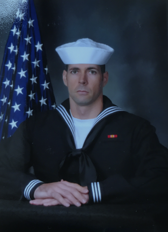 Benjamin Kampper poses for his official Naval photo.