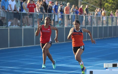 Sophomore Sanjana Bhagavatula runs a time of 13.63a in the 100m  (Photo/ Kelsey Mazzocca).