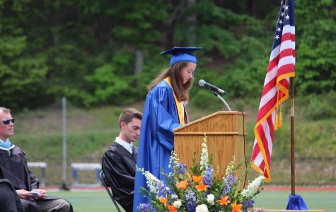 Valedictorian Emily Martin delivers her commencement address.