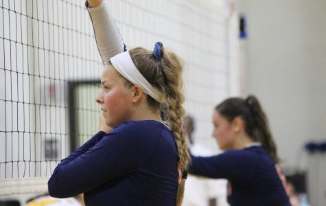 Junior Sawyer King prepares for a block against King Philip.