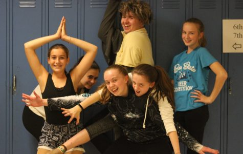 The cast from Walpole laughs and poses with eachother. Top row from left to right (Sydney Schultz, Myles Qualter, Grace Ward). Bottom row from left to right (Caterina Seeley, Cate Lightbody, Abbi Lightbody).