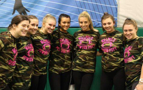 Lindsey Sullivan, Jenn Houser, Erin Maloney, Sydnee Villa, Emily Curtis, Erica Sandquist, and Celia Walsh celebrate their Powder Puff win.
