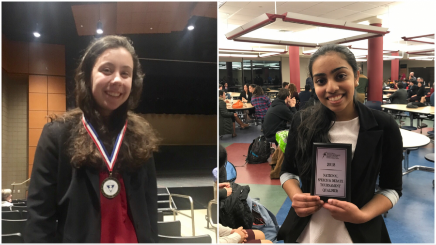 Lindsay poses with her medal (on left), and Reshma poses with her plaque (on right). (Photo Credit/ Emily Murray)