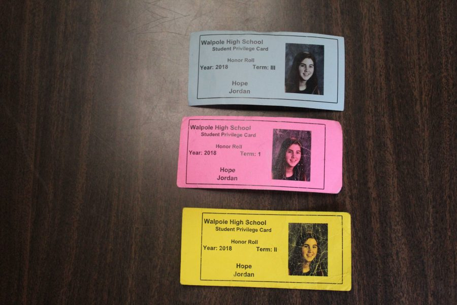 Junior Hope Jordan's privilege cards throughout the school year.