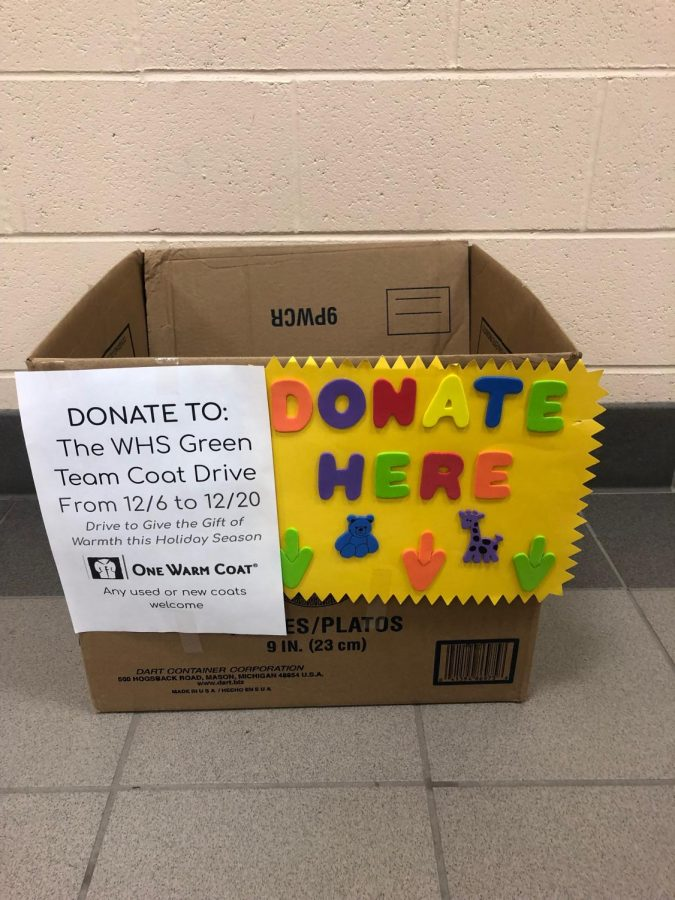 WHS Green Team Holds Coat Drive to Help Those in Need This Holiday Season