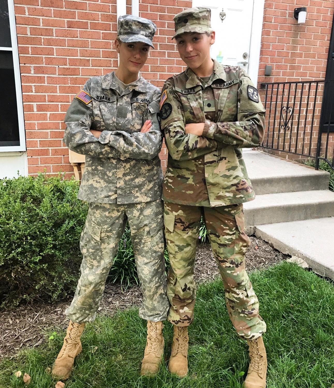 Chloe (left) and Olivia (right) both participated in Loyola University's ROTC program.
