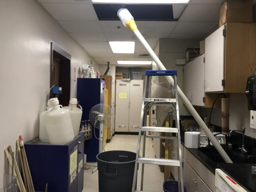Custodians create device to collect water from leaks. (Photo/ Allie Millette)