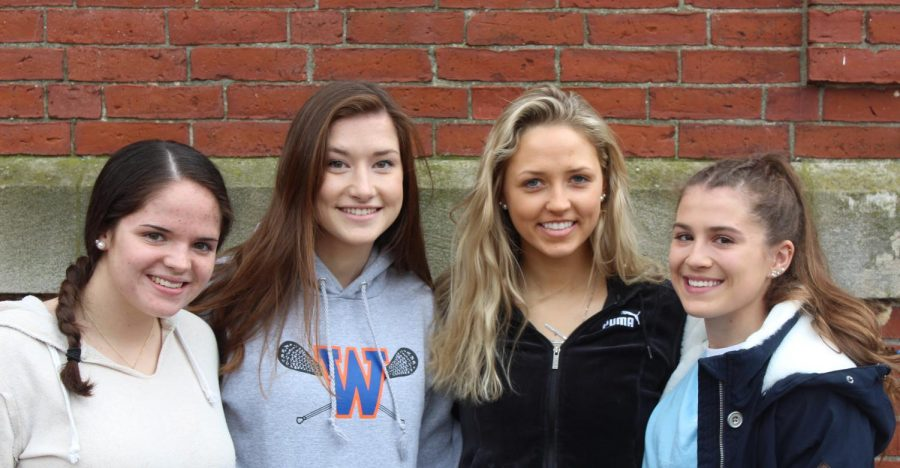 Junior Sydney Scales and seniors Abby McLaughlin, Nikki Griffin and Audra Tosone's are this year's Girls Lacrosse captains.