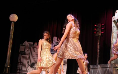 "Seniors Leah Whearty and Megan Mitchell pose during ""Noir."""
