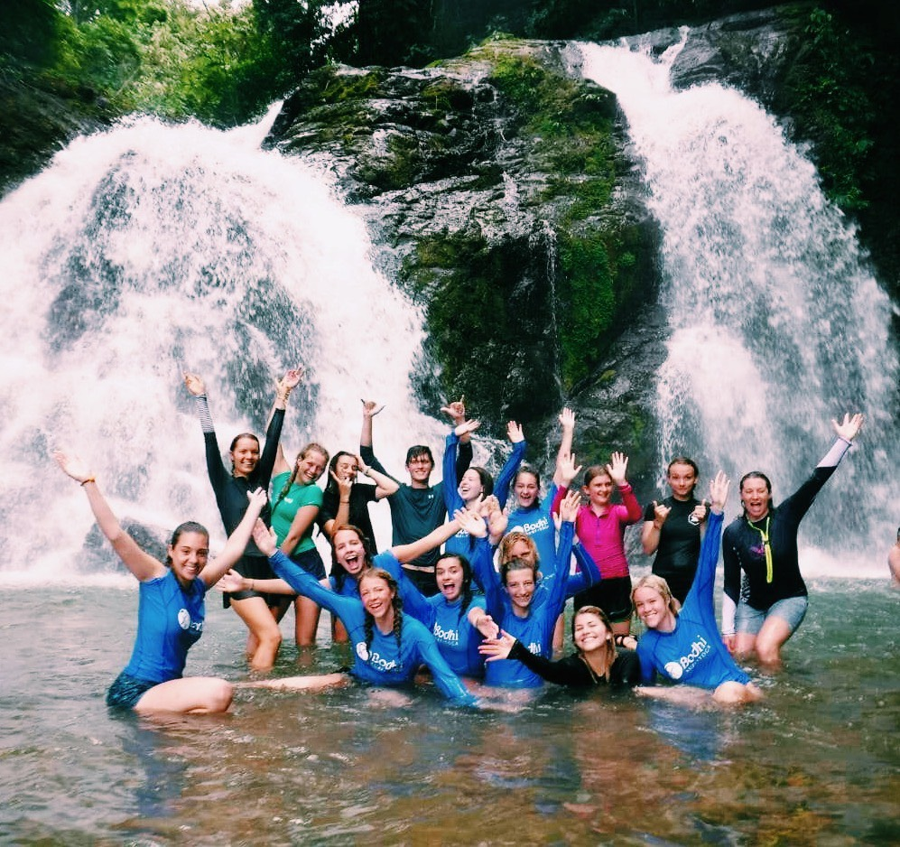 Manzo and other students visit a waterfall on their day off