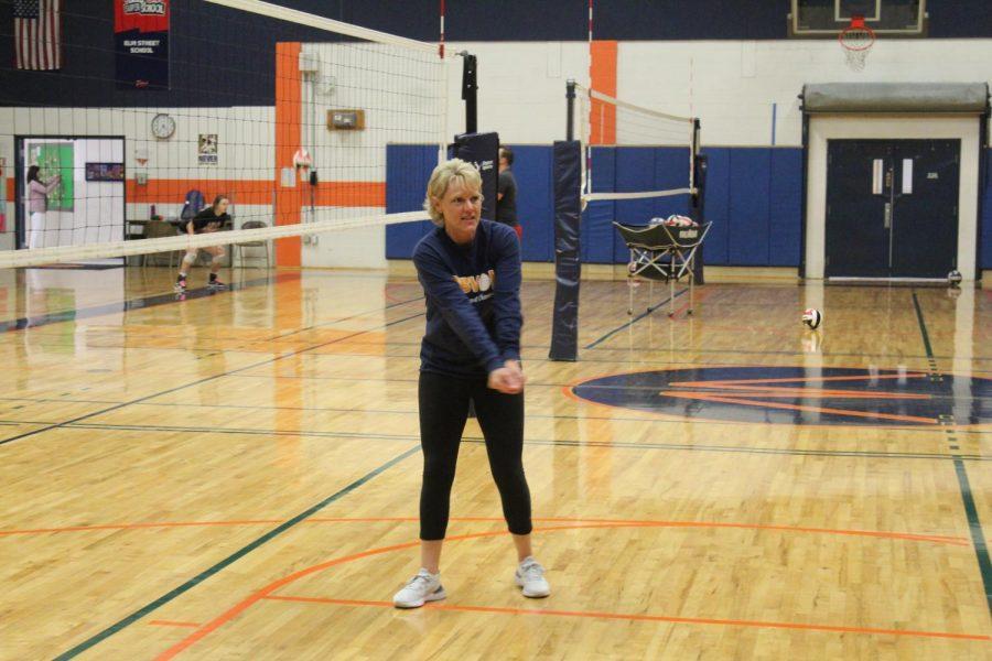 Coach Karen Clemons running a practice.