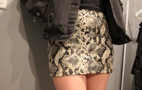 As seen above, a snakeskin skirt can be paired with something as simple as a black jacket, yet still be perfect for a night out!