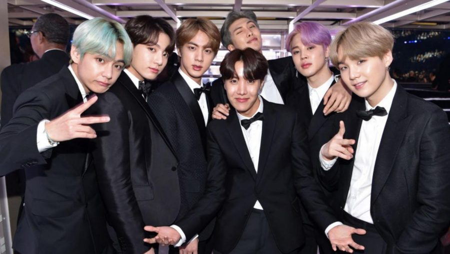 BTS, also known as the Bangtang Boys, poses at the 2019 Grammy Awards.
